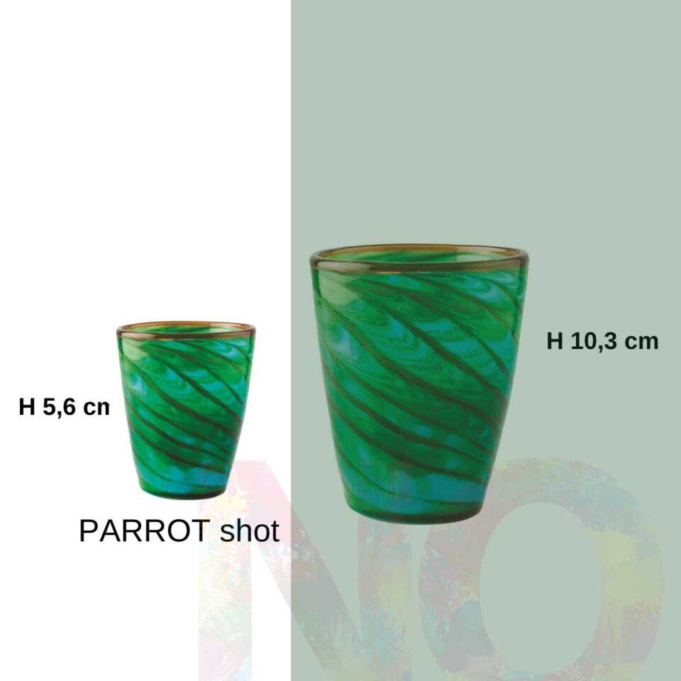 Shot Mares Italesse vetro soffiato Parrot