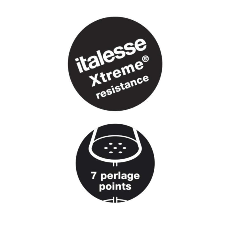 Italesse vetro Xtreme resistance e sette punti perlage