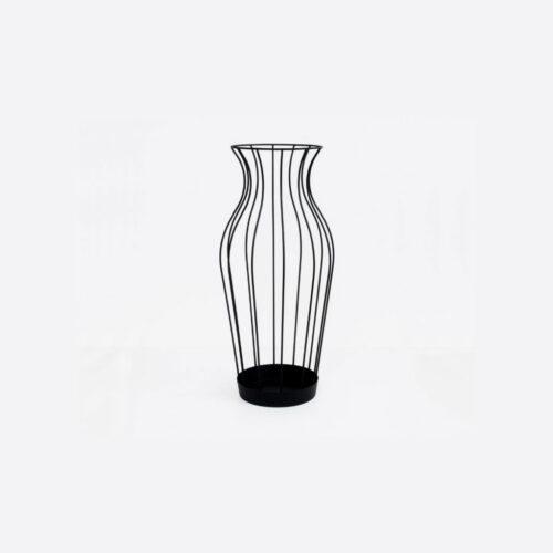 Vaso nero porta ombrelli in metallo Hydria