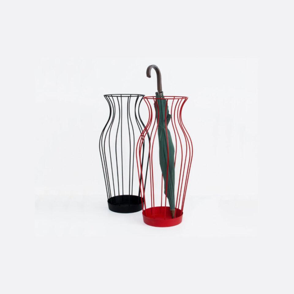 Vaso rosso porta ombrelli in metallo Hydria