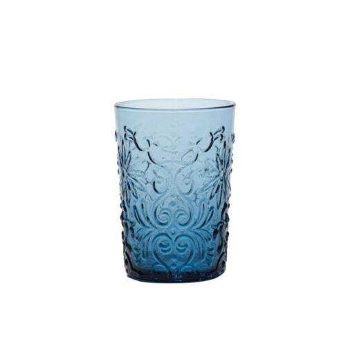 6 Bicchieri Acquamarina in vetro fatti a mano Barocco Zafferano