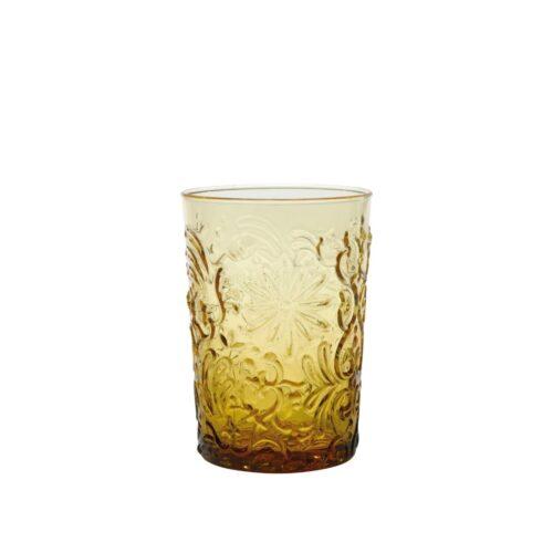 6 Bicchieri Ambra in vetro fatti a mano Zafferano