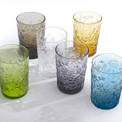 Mix 6 bicchieri colorati in vetro Barocco Zafferano